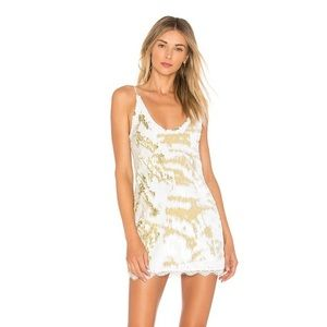 NEW FREE PEOPLE GOLD AND WHITE SEQUIN DRESS